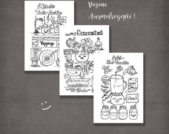 Vegan breakfast recipe art, coloring book, vegan coloring book, modern home decor. Wall art. Printable. Print image JPG. Download digital.