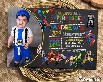 superhero invitation etsy - Superhero Birthday Party Invitations