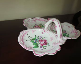 Hand Painted Ceramic 3 Sided Serving Tray From France K & G