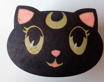 Sailor Moon Luna cat money box wood