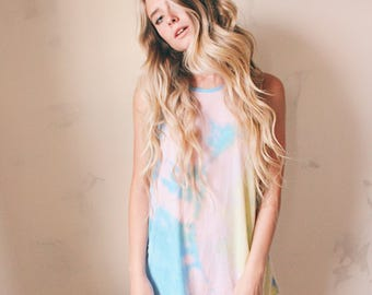 Tie die mini tank dress