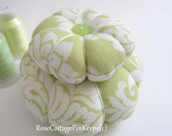 Pincushion, Two Tier, Sewing Room Accessory, Sage and White Damask PinKeep, Cottage Chic Pillow