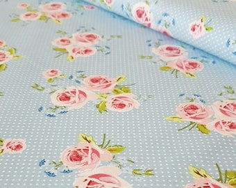 Blue Polka Dot Rose Summer Loft Cotton Fabric - Ring a Roses by Gutermann