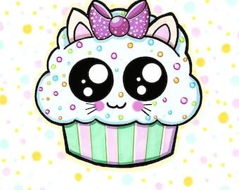 A5 kawaii cupcake print