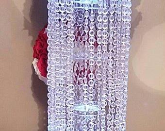 Tall Chandelier centerpiece , weddings, bridal shower,  birthdays. Baptism/christening  centerpieces