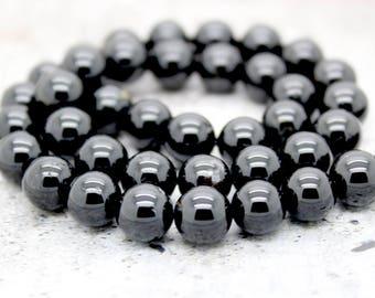 Black Tourmaline Round Gemstone Beads (4mm 6mm 8mm 10mm 12mm)