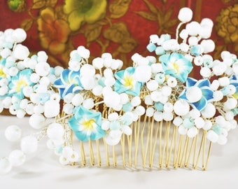 Spring hair comb Bridal Hair Comb Blue flower hair comb Bridal headpiece Spring wedding headpiece Lily flower hair comb