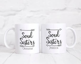 Personalised Soul Sisters Friends Mug Gift Set Gift Boxed