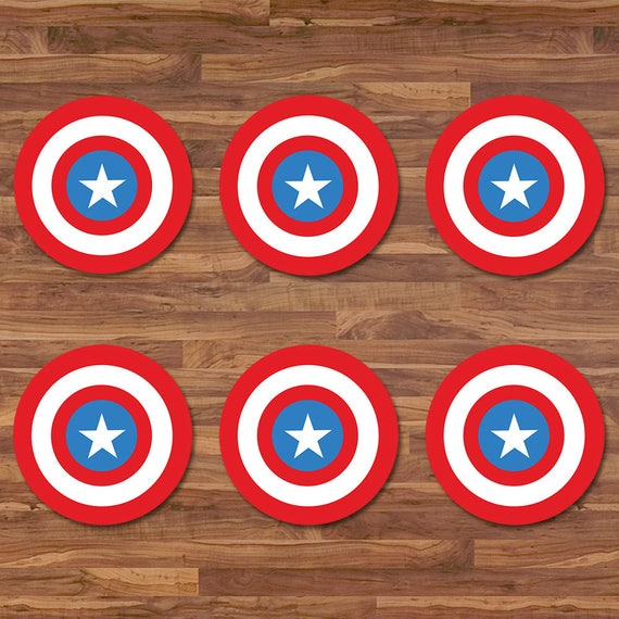 Captain America Cupcake Topper - Captain America Sticker - Blue & Red Logo - Captain America Birthday - Captain America 2 inch Round Sticker