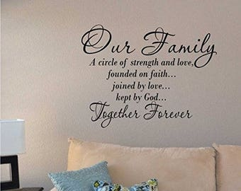 Our Family a Circle of Strength and Love Wall Vinyl Sticker Decal Home Decor