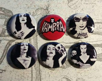 Vampira  Buttons one inch 6 set