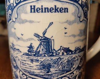 Vintage 1970s Delft Blue Heineken beer stein