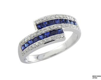 18k Gold Diamond and Blue Sapphire Band