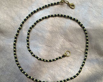 Gold and Black Beaded Choker Necklace