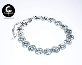 Pentagram symbol  necklace choker
