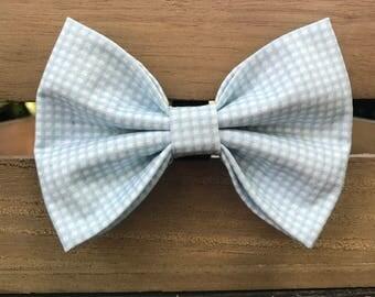 Light Blue gingham dog bow tie