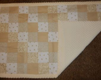 Baby Blanket Crib Size Patch Quilt *Ivory*Gold*Birds*Gold Chevron*Roses*Flowers With Ivory Minky Dot