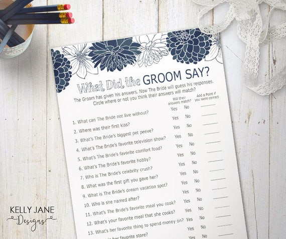 """Blue Bridal Shower """"What Did The Groom Say?"""" Game"""