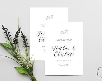 Modern Calligraphy Wedding Invitation Template, Printable Modern Wedding Invitation, Nature Wedding Invitation, Customizable Wedding Invite