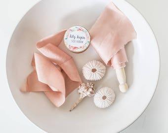 Blush Coral~Hand dyed Habotai Silk Ribbon, Bouquet ribbon, Blush Ribbon, Bridal bouquet ribbon, Silk Ribbon, Habotai Ribbon, Naturally dyed~