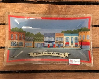 "Peggy-Karr Glass 10"" Rect Tray - GrandcLedge, Michigan - Downtown W/Stores - Signed"