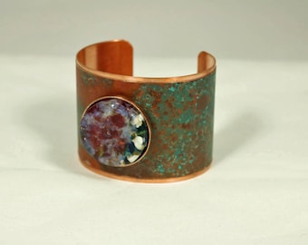 Copper Cuff Bracelet with Verdigris and a Copper, Red and Verdigris Fused Glass Jewel