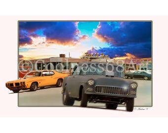 Two-Lane Blacktop 3D Style Original Art Print