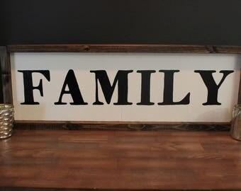 "Family Framed Wood Sign, Framed Wall Art, Rustic Sign 7.5""x24"""
