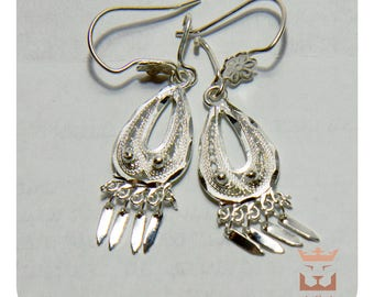 Natural Silver 925 Sterling Chandelier Earrings Free Shipping Long New Handmade
