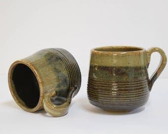 Pottery Mugs, Handmade Natural Earth-tone glaze (2 piece Set)