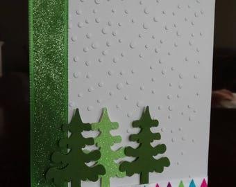 Snowfall, evergreen Christmas card