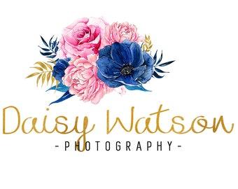 Photography logo design, watercolor logo, gold foil logo design, photographer logo, branding template, floral logo design, instant download