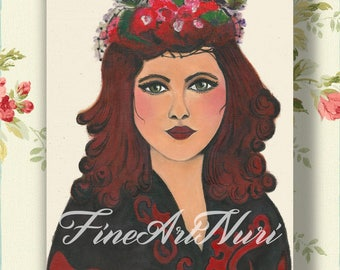 Woman with headdress, art deco portrait, vintage art gifts,  portrait 20ies, art nouveau image, gift art, red hair woman, art deco woman,