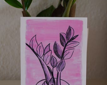Greeting card pink plant