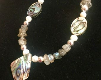Abalone and Labradorite necklace and earring set