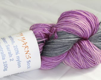 Hand Dyed 'Sarah 2' 4 ply Australian Sock Yarn 100 grams