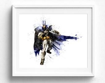 Batman wall art, batman wall decor, batman watercolor, superhero art, superhero wall art, superhero room decor superhero watercolor wall art