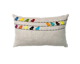 Hand embroidered pillow-50 x 30 cm