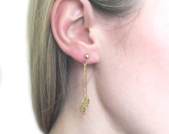 1980s Vintage Gold Plated Drop Leaf Earrings