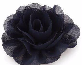 2 Black Rose Flower Baby Girl Hair Clips 1 Pair