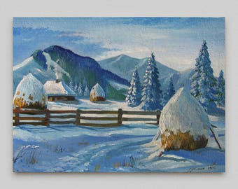 Original oil painting Winter landscape Snowy mountains Сanvas art Small landscape Wall art decor Discount original painting