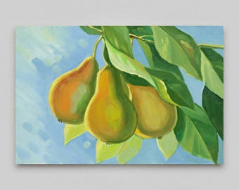 Oil painting Original artwork Kitchen Wall decor Tutti-frutti Fruit tree Pear Small canvas oil Impressionism Canvas art  Branch with fruits