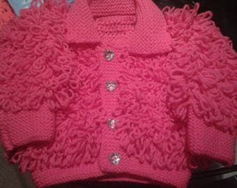 Hand Knitted 12-24 month Loopy Cardigans