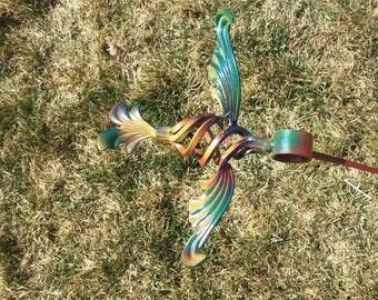 Metal yard garden art stake humming bird