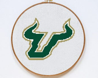 University of South Florida USF Bulls cross stitch pattern, Instant Download, PDF