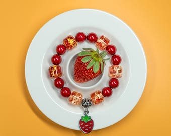 Strawberry Bracelet, Strawberry Charm, Fruit Charm Bracelet, Summer Bracelet, Birthday Gift for Her, Charity Bracelet, Charity Donation