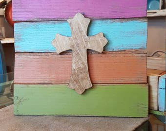 Bright Pallet Wood Sign with Cross