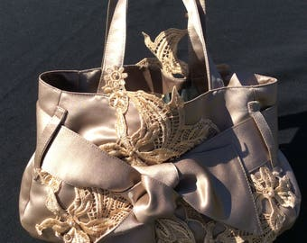 Taupe satin and lace evening bag