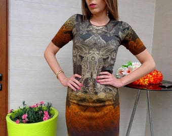 FREE SHIPPING/Official Elegant Dress/Skin Tight Dress/Unique Print/Short Sleeve Dress/Party Outfit/Straight Dress/Short Dress/YANORA Fashion