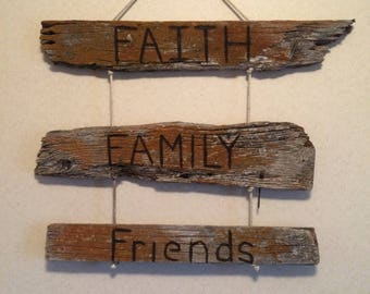 Faith, Family, Friends Barnwood sign